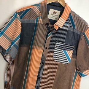 XL- Vincent d'Amerique orange blue button shirt Sz XL